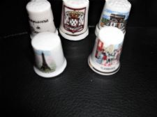 5 X ELEGANT BONE CHINA THIMBLES COLLECTION FROM FRANCE ALL DIFFERENT